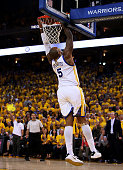 Marreese Speights of the Golden State Warriors dunks against the Cleveland Cavaliers in the third quarter during Game Two of the 2015 NBA Finals at...