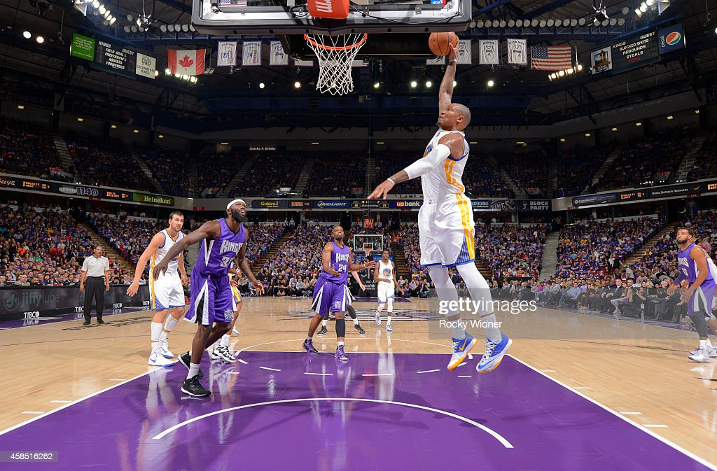 <a gi-track='captionPersonalityLinkClicked' href=/galleries/search?phrase=Marreese+Speights&family=editorial&specificpeople=4187263 ng-click='$event.stopPropagation()'>Marreese Speights</a> #5 of the Golden State Warriors dunks against the Sacramento Kings on October 29, 2014 at Sleep Train Arena in Sacramento, California.