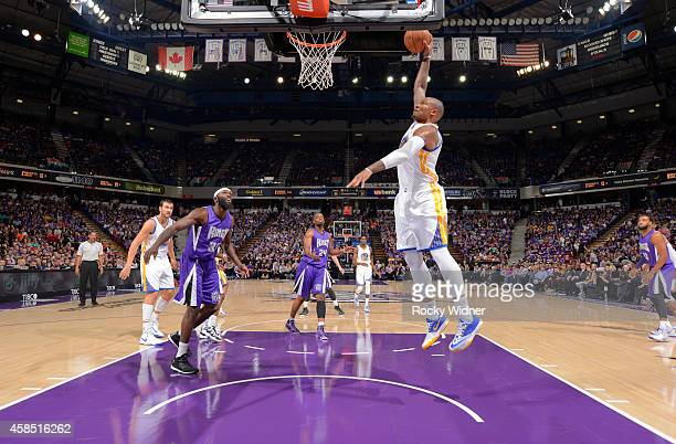 Marreese Speights of the Golden State Warriors dunks against the Sacramento Kings on October 29 2014 at Sleep Train Arena in Sacramento California...
