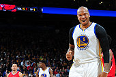 Marreese Speights of the Golden State Warriors during the game against the Atlanta Hawks on March 18 2015 at ORACLE Arena in Oakland California NOTE...