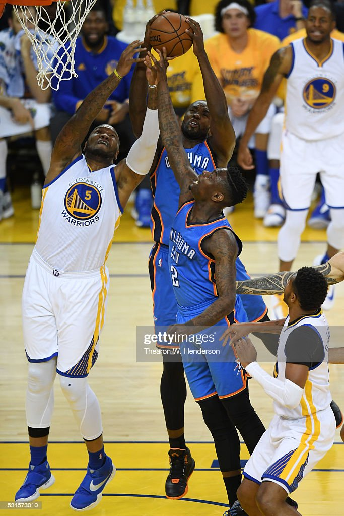 <a gi-track='captionPersonalityLinkClicked' href=/galleries/search?phrase=Marreese+Speights&family=editorial&specificpeople=4187263 ng-click='$event.stopPropagation()'>Marreese Speights</a> #5 of the Golden State Warriors fights for a rebound against <a gi-track='captionPersonalityLinkClicked' href=/galleries/search?phrase=Anthony+Morrow&family=editorial&specificpeople=814354 ng-click='$event.stopPropagation()'>Anthony Morrow</a> #2 and <a gi-track='captionPersonalityLinkClicked' href=/galleries/search?phrase=Serge+Ibaka&family=editorial&specificpeople=5133378 ng-click='$event.stopPropagation()'>Serge Ibaka</a> #9 of the Oklahoma City Thunder during Game Five of the Western Conference Finals during the 2016 NBA Playoffs at ORACLE Arena on May 26, 2016 in Oakland, California.