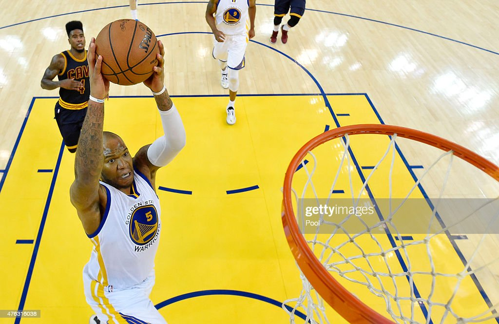 Marreese Speights of the Golden State Warriors goes up against the Cleveland Cavaliers in the second half during Game Two of the 2015 NBA Finals at...