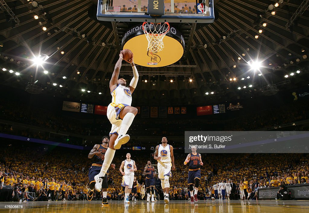 Marreese Speights of the Golden State Warriors goes up to dunk during Game Two of the 2015 NBA Finals on June 7 2015 at Oracle Arena in Oakland...