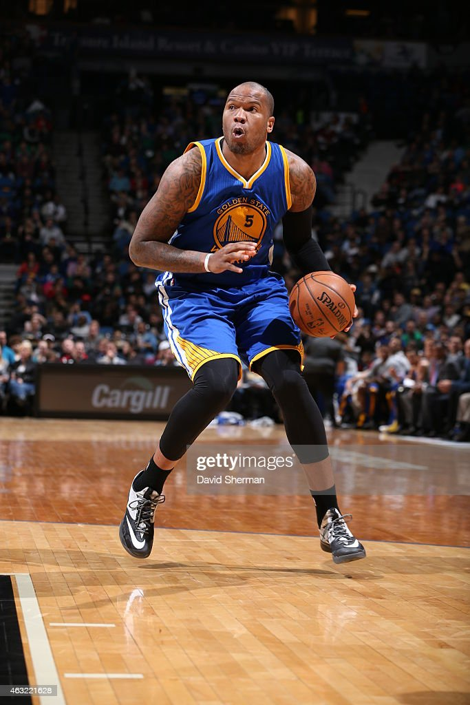 Marreese Speights of the Golden State Warriors handles the ball against the Minnesota Timberwolves during the game on February 11 2015 at Target...