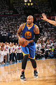 Marreese Speights of the Golden State Warriors handles the ball during the game against the Oklahoma City Thunder in Game Four of the Western...