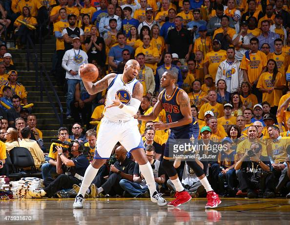 Marreese Speights of the Golden State Warriors is guarded by James Jones of the Cleveland Cavaliers during Game One of the 2015 NBA Finals on June 4...