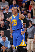 Marreese Speights of the Golden State Warriors looks on during the game against the Sacramento Kings on February 3 2015 at Sleep Train Arena in...