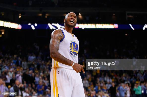 Marreese Speights of the Golden State Warriors reacts during their game against the Los Angeles Clippers at ORACLE Arena on November 4 2015 in...
