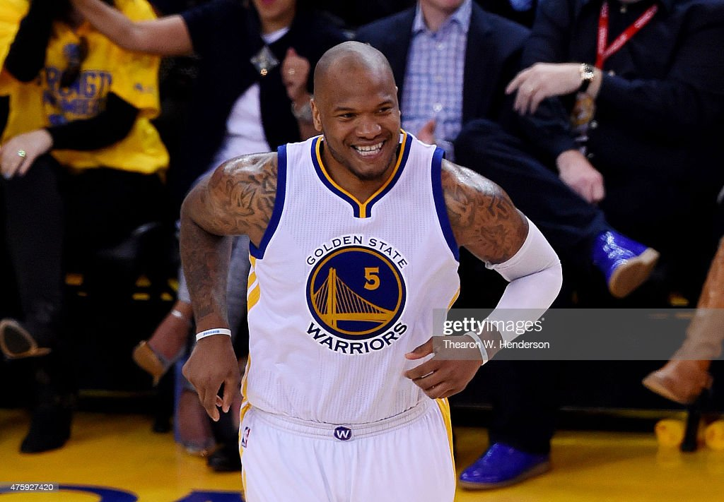 <a gi-track='captionPersonalityLinkClicked' href=/galleries/search?phrase=Marreese+Speights&family=editorial&specificpeople=4187263 ng-click='$event.stopPropagation()'>Marreese Speights</a> #5 of the Golden State Warriors reacts in the second half against the Cleveland Cavaliers during Game One of the 2015 NBA Finals at ORACLE Arena on June 4, 2015 in Oakland, California.