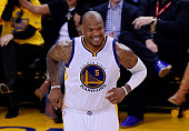 Marreese Speights of the Golden State Warriors reacts in the second half against the Cleveland Cavaliers during Game One of the 2015 NBA Finals at...