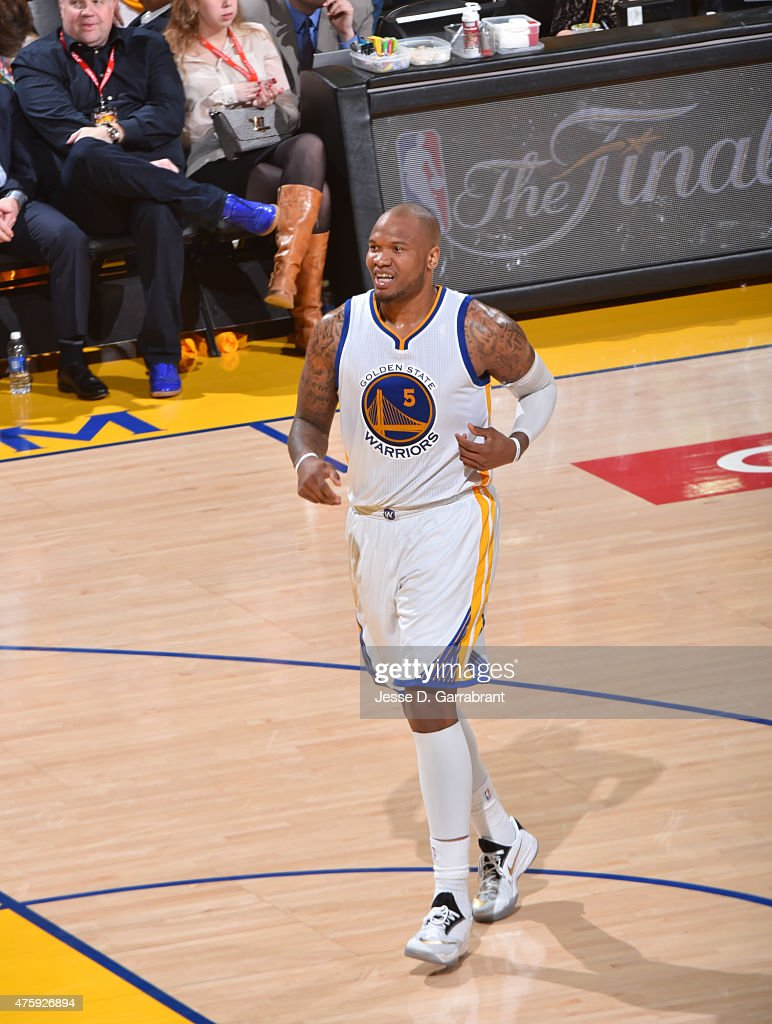 Marreese Speights of the Golden State Warriors runs up the court against the Cleveland Cavaliers at the Oracle Arena During Game one of the 2015 NBA...
