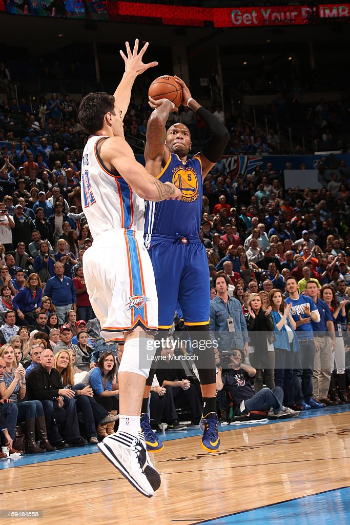 <a gi-track='captionPersonalityLinkClicked' href=/galleries/search?phrase=Marreese+Speights&family=editorial&specificpeople=4187263 ng-click='$event.stopPropagation()'>Marreese Speights</a> #5 of the Golden State Warriors shoots against the Oklahoma City Thunder on November 23, 2014 at the Chesapeake Energy Arena in Oklahoma City, Oklahoma.