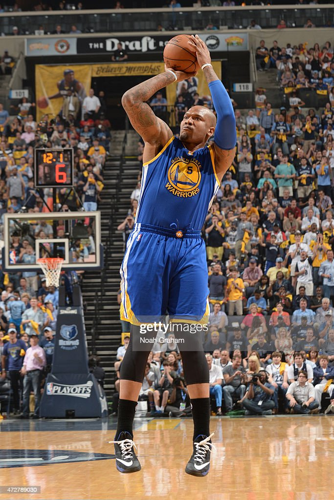 Marreese Speights of the Golden State Warriors shoots against the Memphis Grizzlies in Game Three of the Western Conference Semifinals during the...