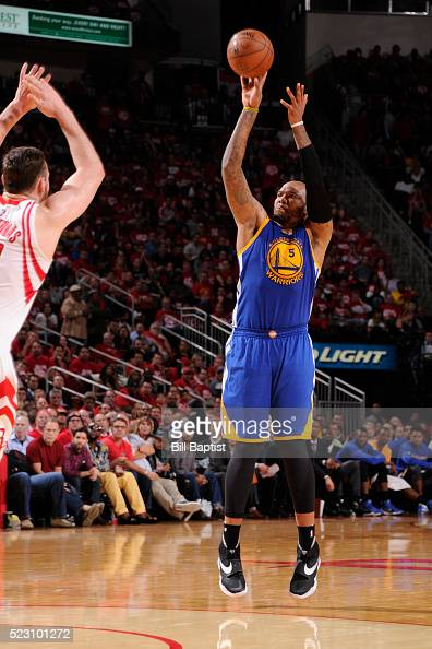 Marreese Speights of the Golden State Warriors shoots against the Houston Rockets in Game Three of the Western Conference Quarterfinals during the...