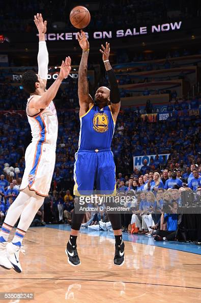 Marreese Speights of the Golden State Warriors shoots against the Oklahoma City Thunder in Game Six of the Western Conference Finals during the 2016...