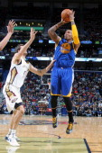 Marreese Speights of the Golden State Warriors shoots the ball against the New Orleans Pelicans during an NBA game on January 18 2014 at the New...