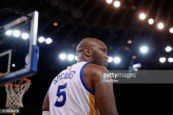 Marreese Speights of the Golden State Warriors stands on the court during their game against the Dallas Mavericks at ORACLE Arena on January 27 2016...