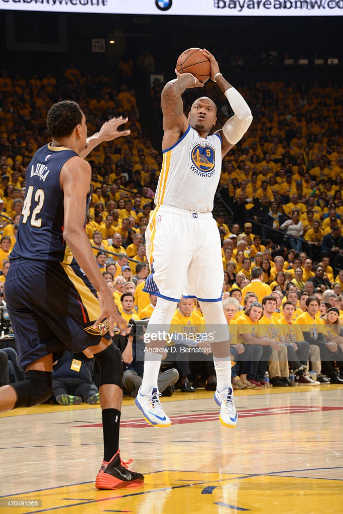 Marreese Speights of the Golden State Warriors takes a shot against the New Orleans Pelicans during Game Two of the Western Conference Quarterfinals...