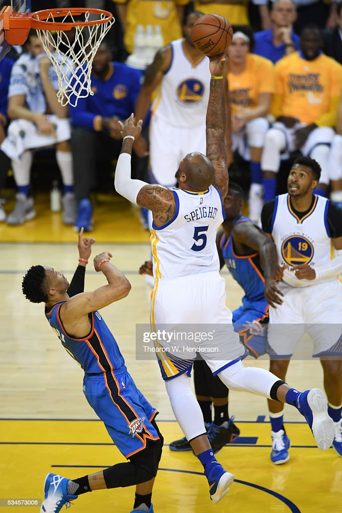 <a gi-track='captionPersonalityLinkClicked' href=/galleries/search?phrase=Marreese+Speights&family=editorial&specificpeople=4187263 ng-click='$event.stopPropagation()'>Marreese Speights</a> #5 of the Golden State Warriors throws up a shot against <a gi-track='captionPersonalityLinkClicked' href=/galleries/search?phrase=Russell+Westbrook&family=editorial&specificpeople=4044231 ng-click='$event.stopPropagation()'>Russell Westbrook</a> #0 of the Oklahoma City Thunder during Game Five of the Western Conference Finals during the 2016 NBA Playoffs at ORACLE Arena on May 26, 2016 in Oakland, California.
