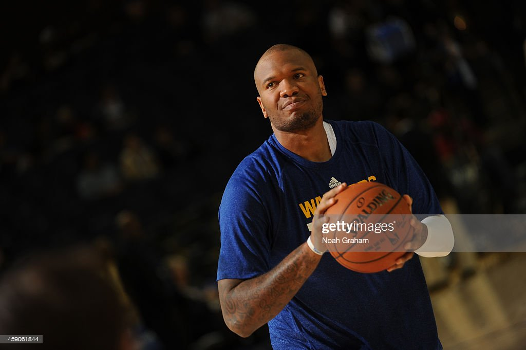 <a gi-track='captionPersonalityLinkClicked' href=/galleries/search?phrase=Marreese+Speights&family=editorial&specificpeople=4187263 ng-click='$event.stopPropagation()'>Marreese Speights</a> #5 of the Golden State Warriors warms up before facing the Charlotte Hornets on November 15, 2014 at Oracle Arena in Oakland, California.