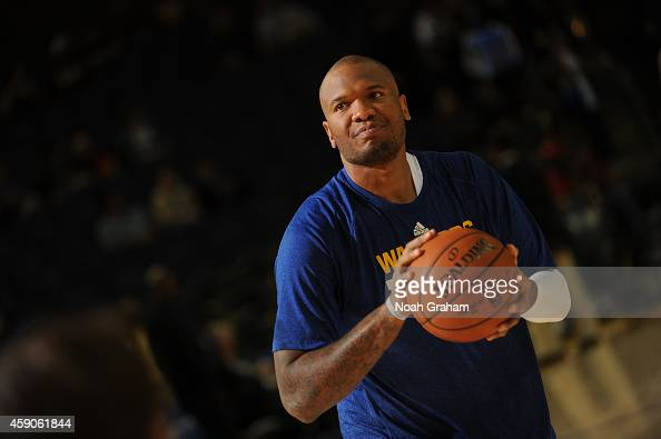 Marreese Speights of the Golden State Warriors warms up before facing the Charlotte Hornets on November 15 2014 at Oracle Arena in Oakland California...