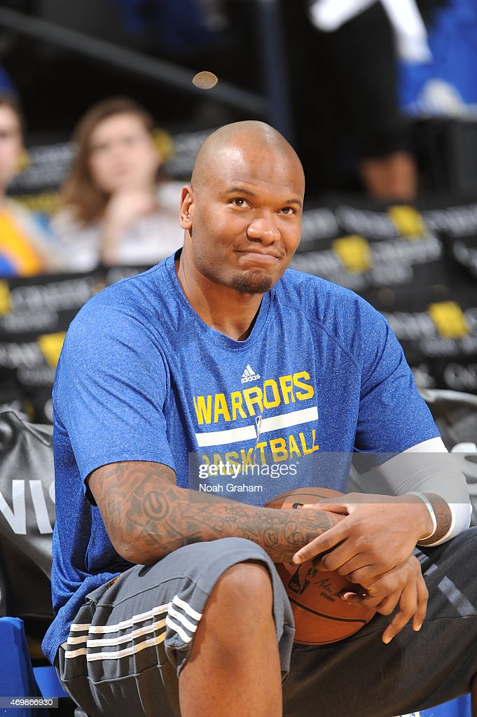 Marreese Speights of the Golden State Warriors warms up before facing the Denver Nuggets on April 15 2015 at Oracle Arena in Oakland California NOTE...