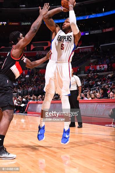 Marreese Speights of the Los Angeles Clippers shoots the ball against the Portland Trail Blazers during a preseason game on October 13 2016 at...