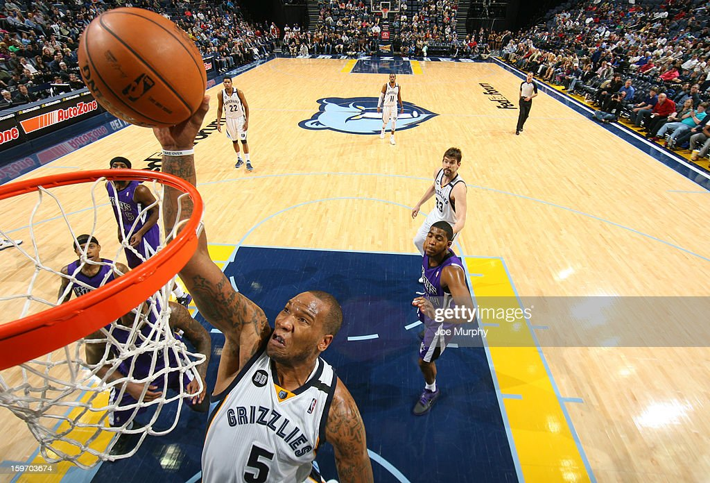 <a gi-track='captionPersonalityLinkClicked' href=/galleries/search?phrase=Marreese+Speights&family=editorial&specificpeople=4187263 ng-click='$event.stopPropagation()'>Marreese Speights</a> #5 of the Memphis Grizzlies dunks against the Sacramento Kings on January 18, 2013 at FedExForum in Memphis, Tennessee.