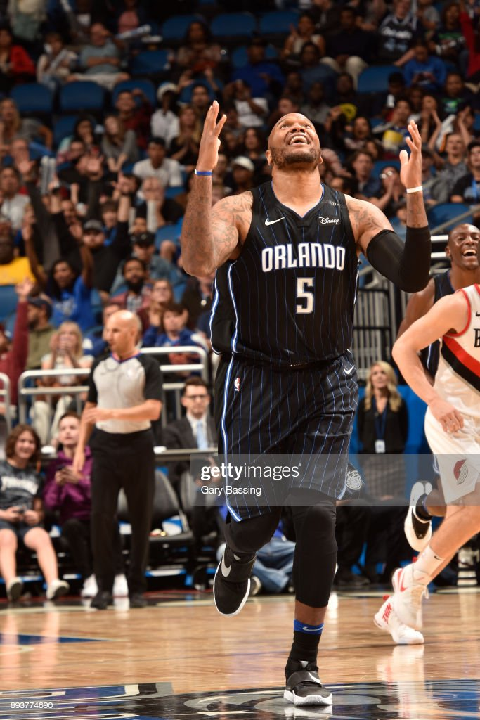 Marreese Speights #5 of the Orlando Magic reacts during game against the Portland Trail Blazers on December 15, 2017 at Amway Center in Orlando, Florida.