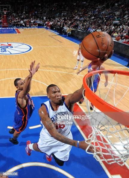 Marreese Speights of the Philadelphia 76ers shoots against the New York Knicks during the game on January 13 2010 at the Wachovia Center in...