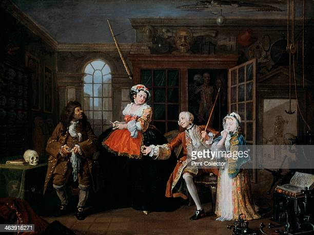 'Marriage AlaMode 3 The Inspection' c1743 The nobleman is in the house of Dr Misaubin no 96 St Martin's Lane He threatens the quack with his cane for...