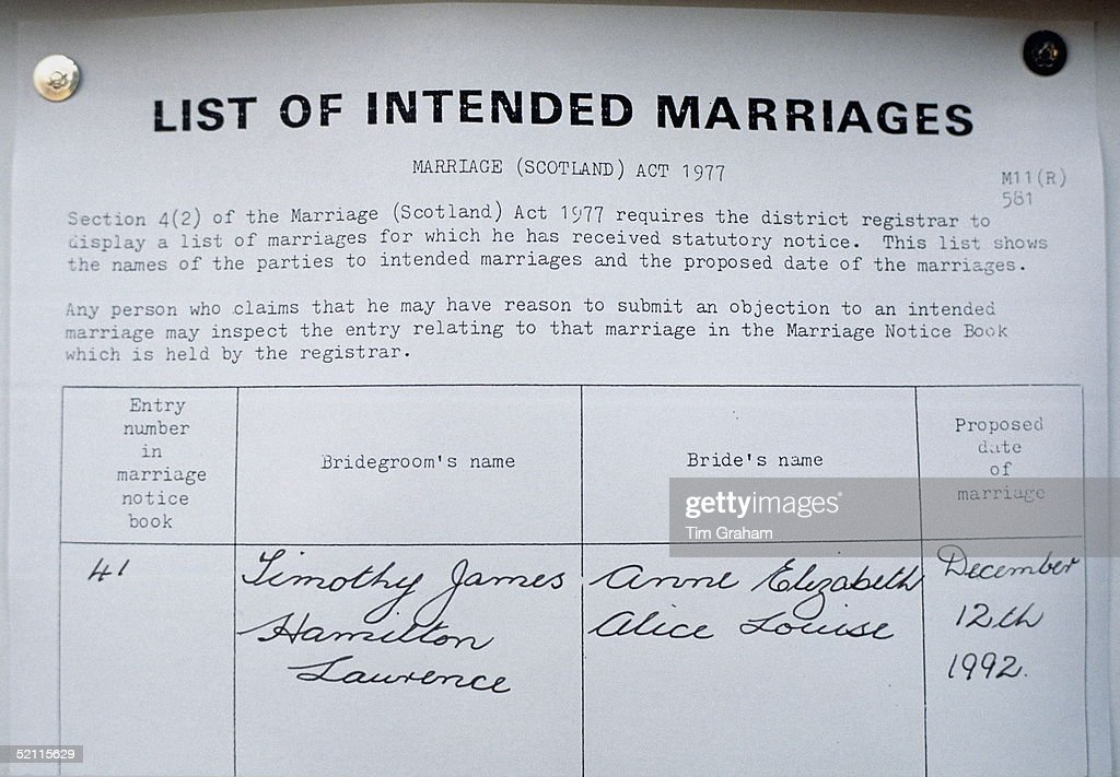Marriage Banns Posted At The Register Office In Scotland Prior To The Wedding Of Princess Anne With Timothy Laurence.