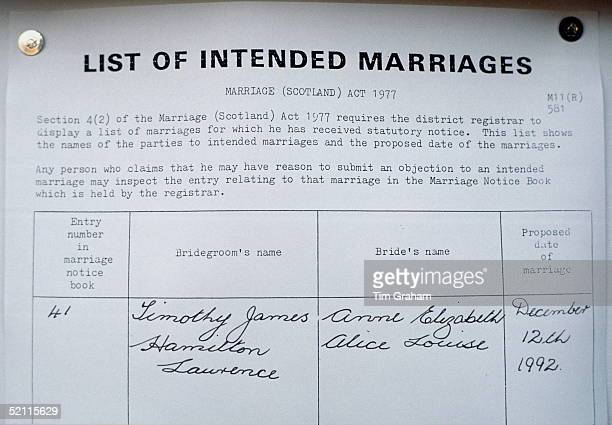 Marriage Banns Posted At The Register Office In Scotland Prior To The Wedding Of Princess Anne With Timothy Laurence
