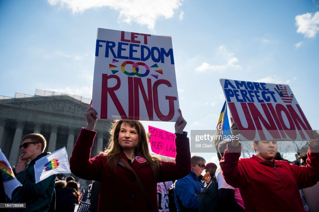 Marriage equality supporters rally in front of the Supreme Court before oral arguments in the United States v. Windsor case, which will test the constitutionality of the Defense of Marriage Act on March 27, 2013. The Defense of Marriage Act, or DOMA, is a 1996 federal statute defining marriage as the union of one man and one woman.