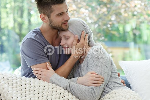 Marriage fighting with cancer together : Stock Photo