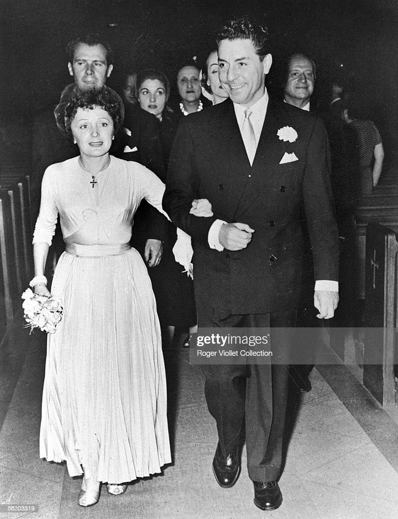 Marriage of Edith Piaf and <a gi-track='captionPersonalityLinkClicked' href=/galleries/search?phrase=Jacques+Pills&family=editorial&specificpeople=1667934 ng-click='$event.stopPropagation()'>Jacques Pills</a>. Behind Edith Piaf : Louis Barrier his impresario and (partly hidden) Marlene Dietrich, their witnesses. France, 1953.