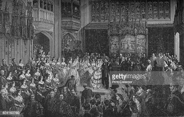 Marriage of the Prince of Wales' c1890 Marriage of Alexandra of Denmark and Albert Edward 10 March 1863 at St George's Chapel Windsor Castle After a...