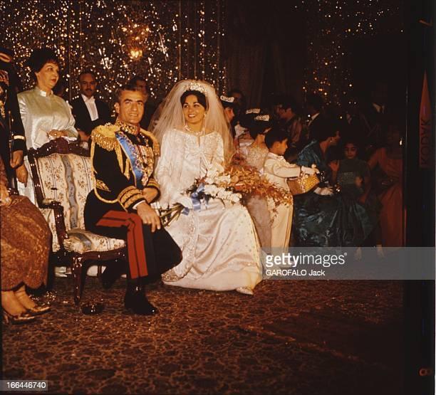 Marriage Of The Shah Of Iran With Farah Diba Young Student Le SHAH MOHAMED REZAH PAHLAVI en grand uniforme assis aux cotés de son épouse...