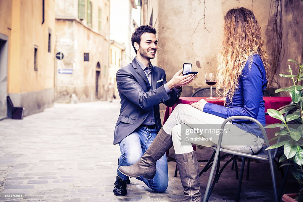 Marriage Proposal at the Outdoors Italian Restaurant