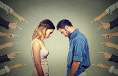 Marriage relationship difficulties concept. Accusation of guilty people. Side profile sad upset woman and men looking down many fingers pointing at their back. Negative emotions feelings