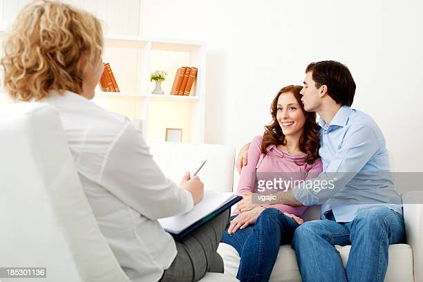 Marriage Therapy. Couple Talking to Counselor