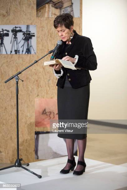 Marriane Alphant reads 'Tombeau pour Cinq Cent Mille Soldats' for 50th anniversary of the book at Azzedine Alaia Gallery on October 19 2017 in Paris...