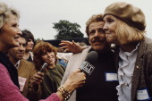Married actors and comedians Jerry Stiller and Anne Meara being interviewed by an ET News reporter at an antinuclear rally in New York City 12th June...