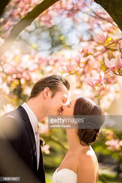 Verheiratetes Paar Küssen unter Magnolien-Baum