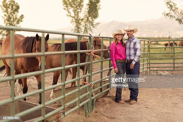 Married Cowboy and Cowgirl on their Ranch