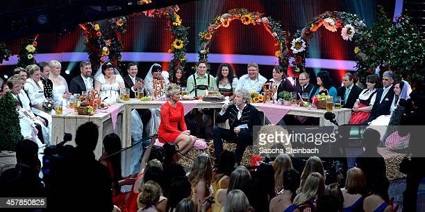 Married participants of 'Bauer sucht Frau' attend the taping of the anniversary show '30 Jahre RTL Die grosse Jubilaeumsshow mit Thomas Gottschalk'...