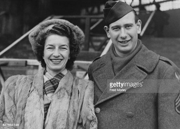 Married tennis champions Staff Sergeant Charles Edgar Hare and Mary Hardwick arrive at Waterloo Station in London 14th December 1944