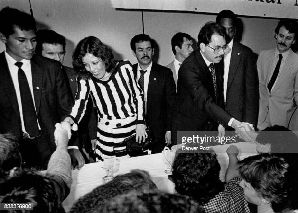 Marriott City Center MBA National Bar Association President of Nicaragua Daniel Ortega shakes hand with people from the audience after he spoke His...