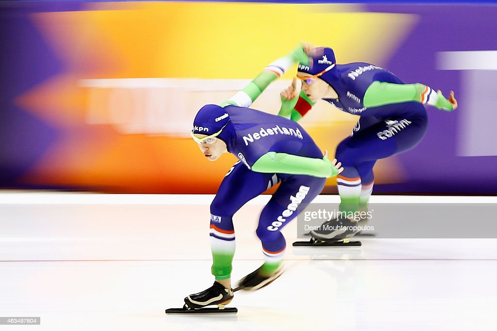 <a gi-track='captionPersonalityLinkClicked' href=/galleries/search?phrase=Marrit+Leenstra+-+Speed+Skater&family=editorial&specificpeople=12056678 ng-click='$event.stopPropagation()'>Marrit Leenstra</a> (L) and Ireen Wust of the Netherlands compete in the Ladies 1500m race during day 4 of the ISU World Single Distances Speed Skating Championships held at Thialf Ice Arena on February 15, 2015 in Heerenveen, Netherlands.