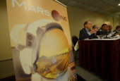 Mars One CEO Bas Lansdorp holds a press conference to announce the launch of astronaut selection for a Mars space mission project in New York April...
